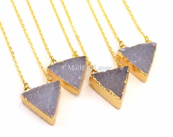Druzy Stone Geode Necklace, Drusy Triangle, Druzy Necklace Druzy Trianlge Shape Geode Druzy Necklace, Quartz Agate Necklace Layering
