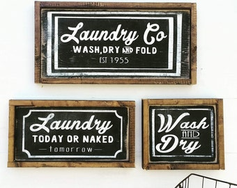 Farmhouse Laundry Decor | Laundry Sign | Laundry Room Decor | Laundry Room Sign | Wash Dry Fold | Laundry Today | Naked Tomorrow