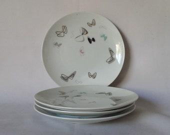 "Mid Century Modern Noritake Japan Atomic Butterfly China 4 pcs 6 3/8"" Dishes"