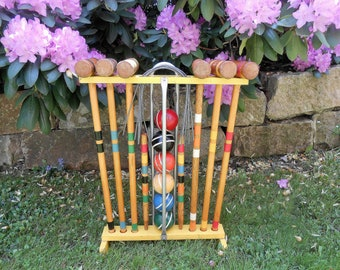 Complete Wooden Croquet Set with Yellow Wood Stand Six Players Striped Balls Lawn Game Photo Prop Picnic Outdoor Game Croquet Set Wedding