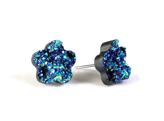 Turquoise blue green textured flower stud earrings - Faux Druzy earrings - Textured earrings - NIckel free Lead free (782)