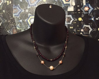 Garnet and Pearl Double Strand