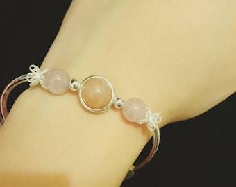 Natural Pink Crystal & Agate Bracelet