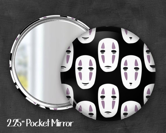 "2.25"" No Face Pocket Mirror, Geek Pocket Mirror, Geekery, Mirror Button,  Kawaii Mirror, Pocket Mirror, Fanart, Fandom"