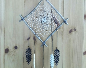 Dream catcher with lace frills, Brown and white feathers