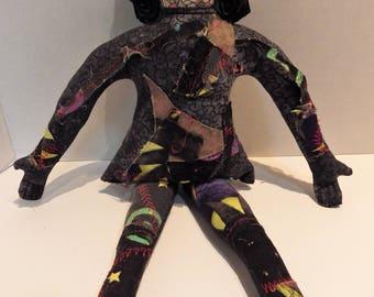 1980s OOAK Handmade Cloth Art Doll Artist Signed A. Maier (Ann Maier Hesse) Patchwork