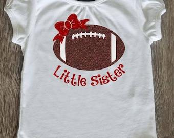 Football Little Sister Shirt Glitter Vinyl Personalized