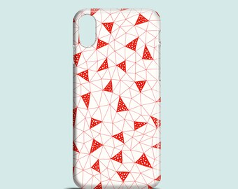 Red Triangles phone case / Red iPhone X, iPhone 8, iPhone 7, 7 Plus, iPhone SE, iPhone 6S, iPhone 6, iPhone 5/5s, illustrated phone case