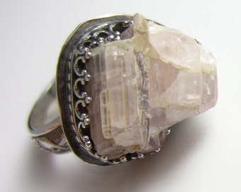 Pink Crystal Matrix Ring in Sterling Silver - Size 6.5