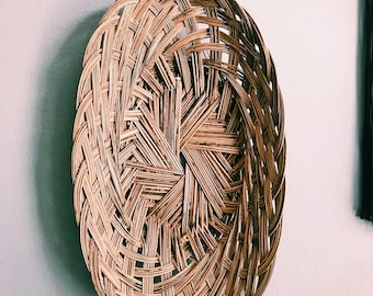 "Vintage 17"" Woven Rattan Basket / Oval Hanging Wall Basket / Long Boho Bread Basket / Made in Philippines"