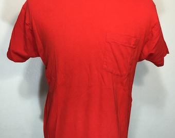 90's pocket t shirt red color 100% color mens