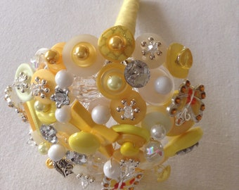 Yellow and Ivory Button Bouquet.  Small Flower Girl Bouquet.  Alternative Bouquet.  Keepsake Bouquet.     Bridesmaid Bouquet