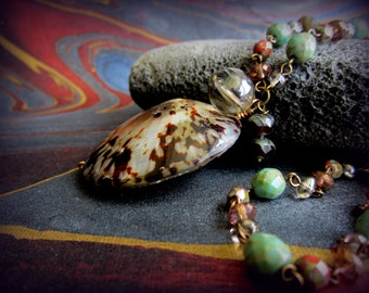 Beach-Ocean inspired shell pendant on beaded chain, handmade jewelry . agiftoflaughter .. tagt brown green red teal gray grey