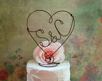 Rustic INITIALS Wedding Cake Topper, Monogram Wedding Cake Topper, Engagement Cake Topper, Anniversary Cake Decoration, Rustic Centerpiece