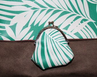 tropical wallet with faux silver clasp