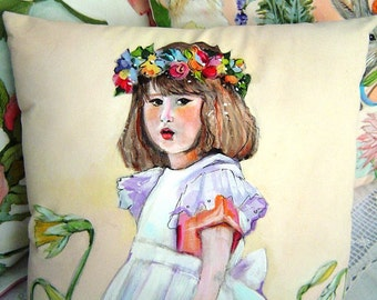 Daffodils Pillow Hand Painted Original 12x12 Spring Pastels Girl in White Pinafore Floral Crown Charming Romantic Wedding Mothers Day B'Day
