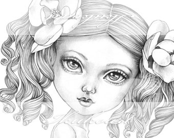Grayscale Art Digital Stamp Image Adult Coloring Page Printable Instant Download - Camellia Girl