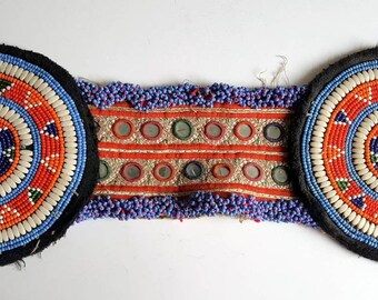 XL Double Kuchi Beaded Medallion Gul Disc Textile Piece. Tribal Gul Medallions Belly Dance Supply or Belt Base.