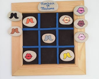 """Mr Mrs vs"" Tic Tac Toe game made painted pebbles hand Tic tac toe against Red mustache balm"