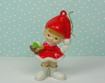 Vintage elf Christmas ornament red white 1970s