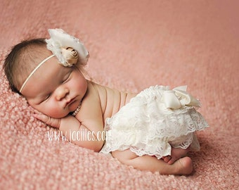 Lace Bloomers & Headband SET  Ivory diaper cover and hair bow newborn and baby girls