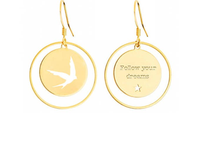 Pair of footprint EM6B0 swallow earrings / Valentine's day