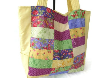 Knitting Tote Bag – Large Knitting Tote Bag – Knitting Bag – Knitting Tote – Pieced Knitting Tote Bag – Large Crafters Bag –Lg Crafters Tote