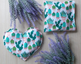 Rice Flax Bag - Microwave Rice Bag  - Rice Bag - Rice Hot Pad - Mom Valentine Gift - Cactus Lover Gift - Valentine Rice Bag - Hot Cold Pad