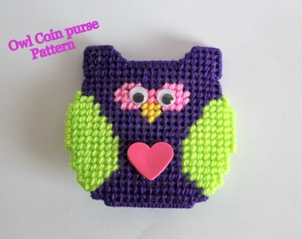 Plastic Canvas Pattern: Owl coin purse,PDF Format ,teen girl gifts,women gifts,PATTERN ONLY