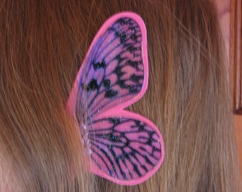 Pink Stripe Butterfly Ear Wings