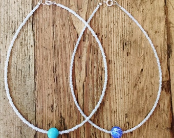 Blue Center Stone Customizable Choker! Seed bead charm necklace blue turquoise sodalite quartz agate summer