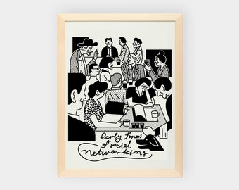 Early forms of social networking. Framed print.