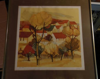 Elaine Thiollier Listed French Artist Limited Edition Signed Stone Lithograph