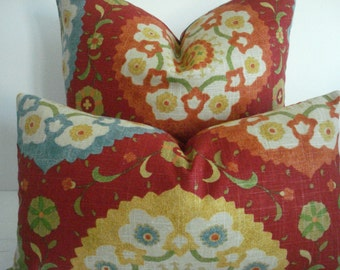 BOTH SIDES -Suzani Decorative Pillow cover--- Designer Fabric--Primary Colors---Red-Yellow-blue-Throw /Lumbar Pillow