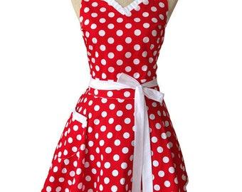 Sweetheart Polka Dot Retro Kitchen Cooking or Salon Apron FREE SHIPPING