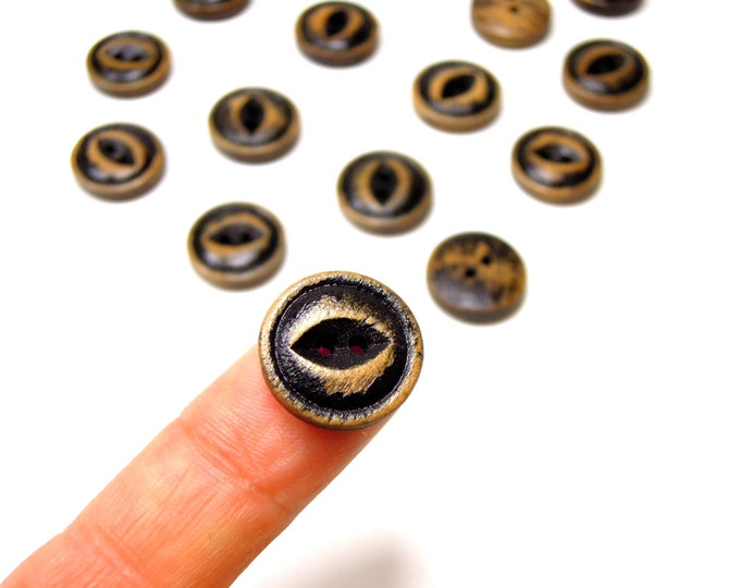 10 Black wooden buttons 15mm - Vintage style buttons - Shabby chic black buttons - Stressed black buttons - Victorian costume buttons.