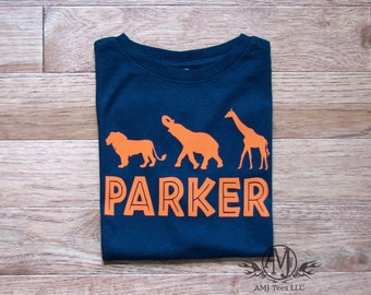 Personalized safari shirt for kids, safari birthday shirts, safari animals shirt