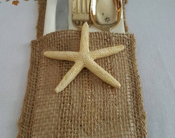 Burlap place setting, utensil holder, Starfish wedding. Made by stay at home veteran.