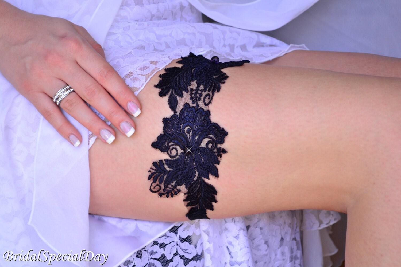Bridal Garter Dark Blue Garter Wedding Garter Blue Lace