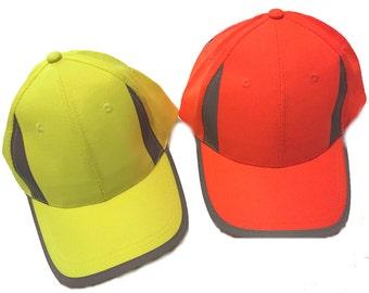 Baseball Cap Hat Sports Style Hi Visibility Reflective Active Wear Yellow or Orange