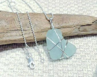 Aqua Blue Sea Glass and Sterling Silver Pendant with Sterling Silver Chain