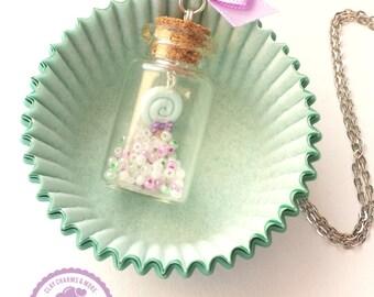 Lollipop in a bottle necklace. Food jewelry, miniature food, clay jewelry, beads, cute jewelry, miniature bottle.