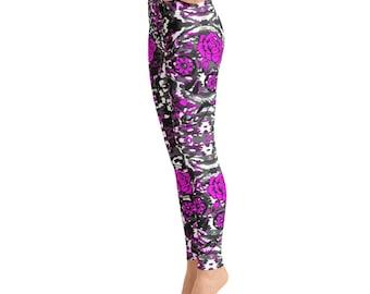 Purple Roses Skull Yoga Leggings,Capri Yoga Pants,Fitness Leggings, Fitness Workout Yoga Pants Joggers Active, Mommy & Me Leggings