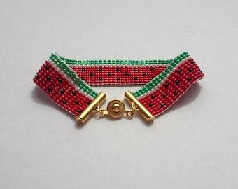 """Bead Loom """"Watermelon"""" Bracelet"""