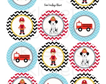 Printable Party Circles - Firetruck Party Cupcake Toppers - Firetruck Party Printables - Firetruck Birthday Party- Fireman- Dalmatian
