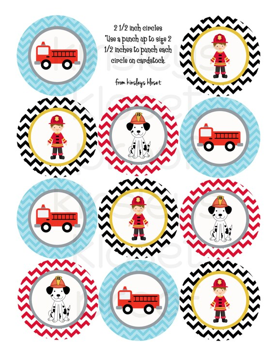 Printable Party Circles Firetruck Party Cupcake Toppers