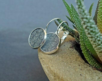 Mother's Day earrings, Metallic grey salmon leather earrings, eco fish leather earrings, eco salmon hide earrings, elegant earrings