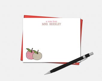 Personalized Apple Teacher Note Cards - Teacher Gifts - Apple Gift - Set of 10 - Flat Note Cards - Chevron Apple Stationery for Teachers