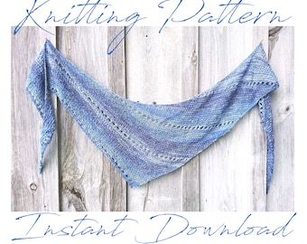 Lace Shawl Knitting Pattern, Wrap, Dreamy Blue Skies Shawlette, Afghan, PDF Pattern - Instant Download