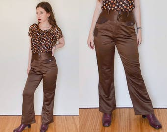 Retro Bronze High Waist Flared Pants